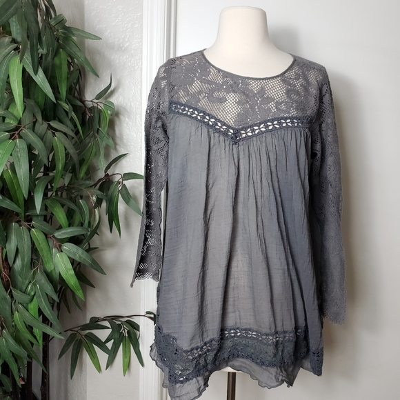 Free People Tops - Free People One Womens Gray Embroidered Top
